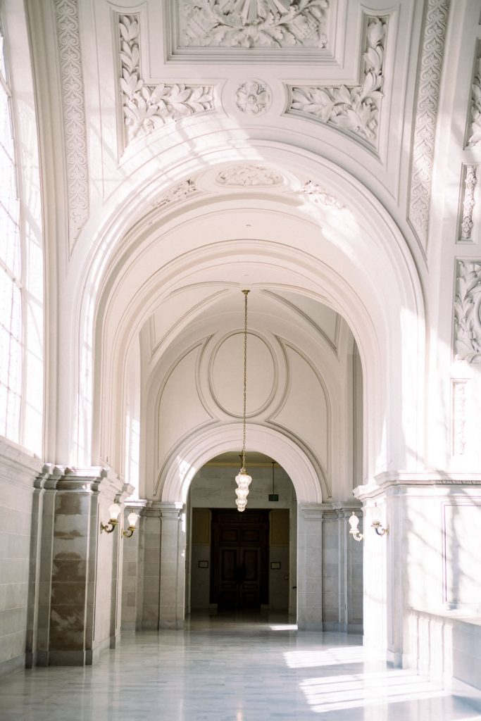 photo of neo classical hallway by wedding photographer Catherine of Peony Park Photography