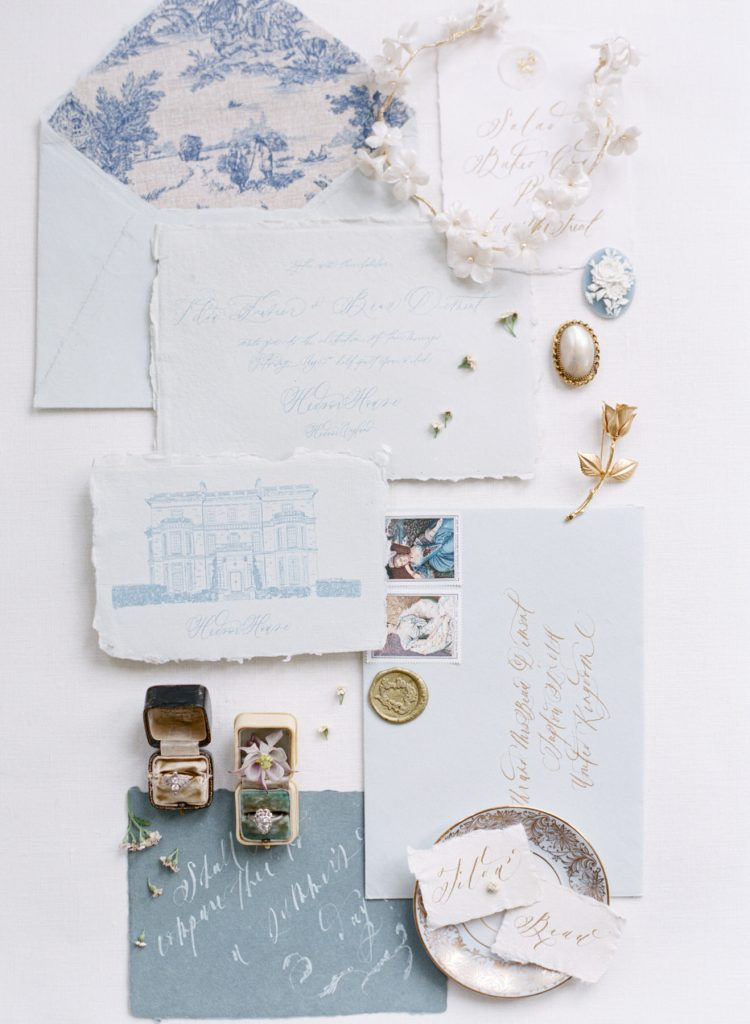 Elegant Calligraphy styled Stationery flatlay photographed by hybrid wedding photographer Catherine of Peony Park Photography based in Southern California